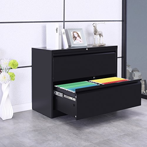 "ModernLuxe 2-Drawer Heavy-Duty Lateral File Cabinet with Lock Black 35.4""W×17.7""D×28.4""H"