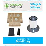 5 Bags, 2 Motor Filters & 1 Dirt Bin Filter for Bissell Zing Vacuum; Designed and Engineered by Think Crucial