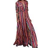 Womens Striped Button Bohe Long Robe Dress Fashion Long Sleeve Multicolor Dress
