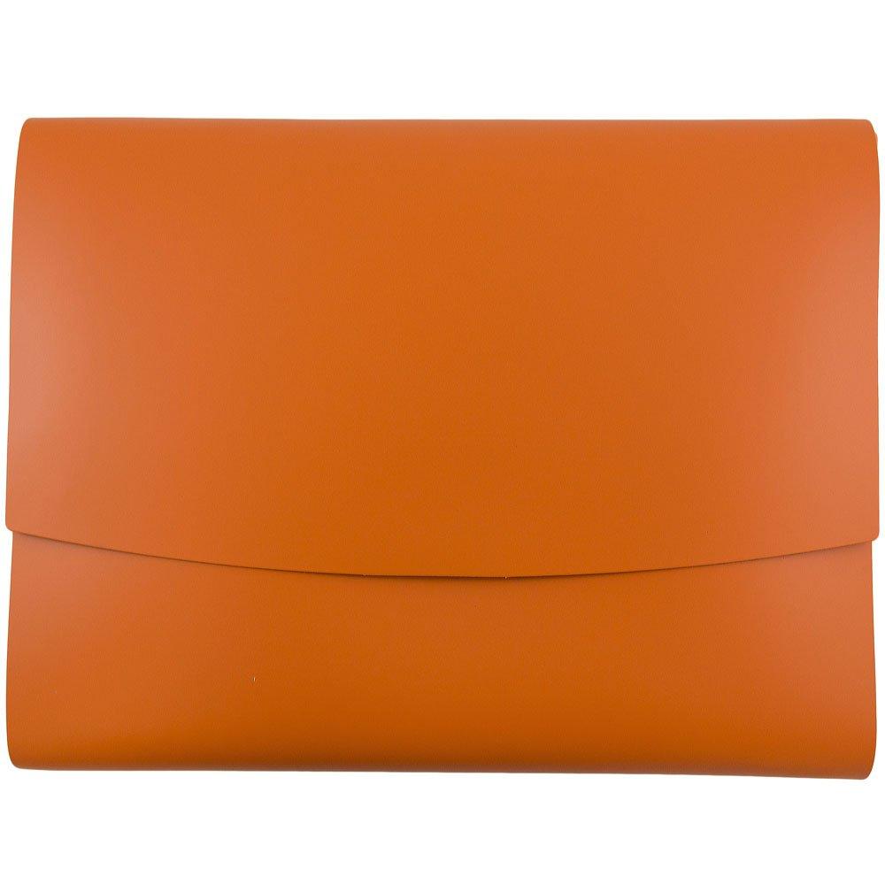 JAM Paper Italian Leather Portfolios with Snap Closure - 10 1/2'' x 13'' x 3/4''- Orange - 12/pack