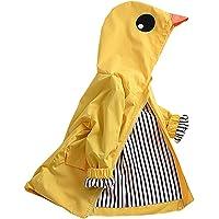 Flashing boy Age 2-10 Years Kids Hooded Button Down Long Jacket Bow Rainwear Lightweight Raincoat