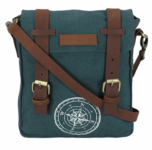 Flat 55% OFF on The House Of Tara Wax Coated Cotton Canvas Messenger Bag (Combat Blue)