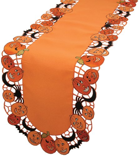 Xia Home Fashions Happy Jack-O-Lanterns Halloween Table Runner, 15 by 54-Inch (Halloween Tabletop)