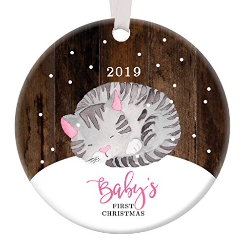 Baby Girl First Christmas Ornament 2019 Adorable Infant Kitty Cat Mommy & Daddy