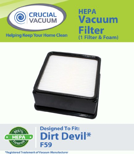 1 Dirt Devil F59 HEPA Filter Cartridge + Foam Designed To Fit Dirt Devil Total Vision Bagless Upright Vacuum Model UD70220; Compare To Dirt Devil F59 (F-59) Part # 304707001, 3-01707-001; Designed and Engineered by Crucial Vacuum, Appliances for Home