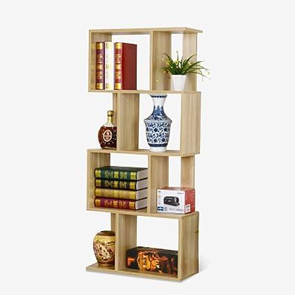 WBBSLJ Bookshelf Simple Free Combination Shelf Bookcase Log Color