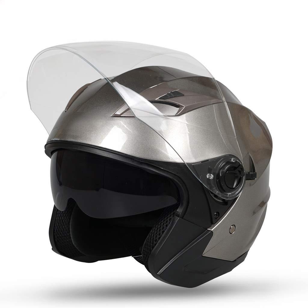 オートバイ用ヘルメット、バイク用ハーフヘルメット防曇用ダブルレンズ用セーフティキャップ電気自動車用ヘルメット ヘルメット  Gray B07QFKBK9T