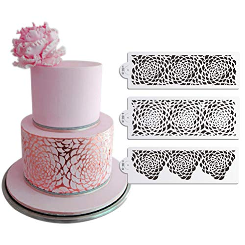 JiaUfmi 3PCS Rose Decorating Stencil for Wedding Cake Airbrush Stencil Plastic Template