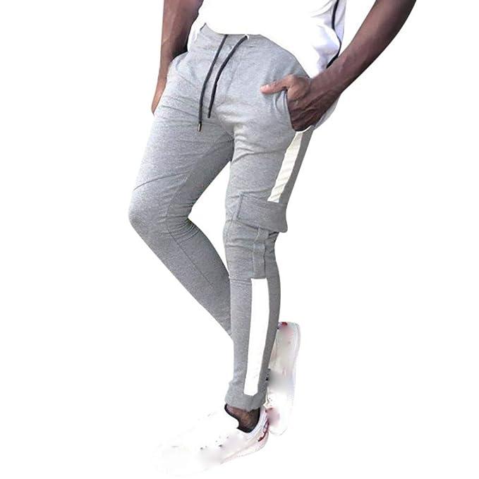 144979b136f92a ABCone Uomo Pantaloni Lunghi Vendita Calda, Autunno Uomo Pantaloni di  Pantaloni della Tuta Sportiva di Coulisse Casual Patchwork Uomo Lavoro  Pantaloni Jeans ...