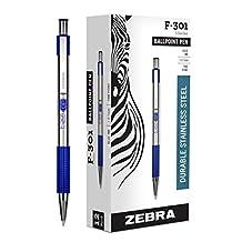 Zebra's F-301 Stainless Steel Retractable Ballpoint Pen 0.7mm Blue Dozen (27120)
