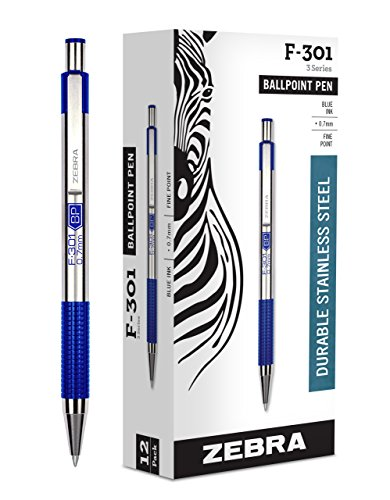 Zebra F-301 Ballpoint Stainless Steel Retractable Pen, Fine Point, 0.7mm, Blue Ink, ()