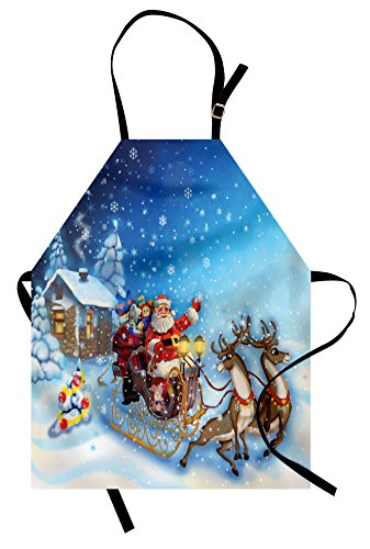 Ambesonne Christmas Apron, Santa in Sleigh with Reindeer and Toys in Snowy North Pole Tale Fantasy Image, Unisex Kitchen Bib Apron with Adjustable Neck for Cooking Baking Gardening, Navy Blue
