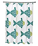 Fish Tales Shower Curtain E by design 71 x 74, Fish Tales, Animal Print Shower Curtain, Teal