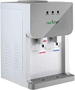 NutriChef Top Loading Hot & Cold Water Cooler Dispenser System, Thermoelectric Cooling, One size, White