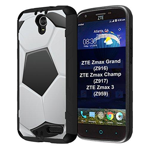 ZTE ZMAX Grand Case, ZMAX Champ Case, ZMAX 3 Case, Capsule-Case Hybrid Dual Layer Slim Defender Armor Combat Case (Black) for ZTE ZMAX Grand/ZMAX Champ/ZMAX 3 - (Soccer - Football Champs Afc