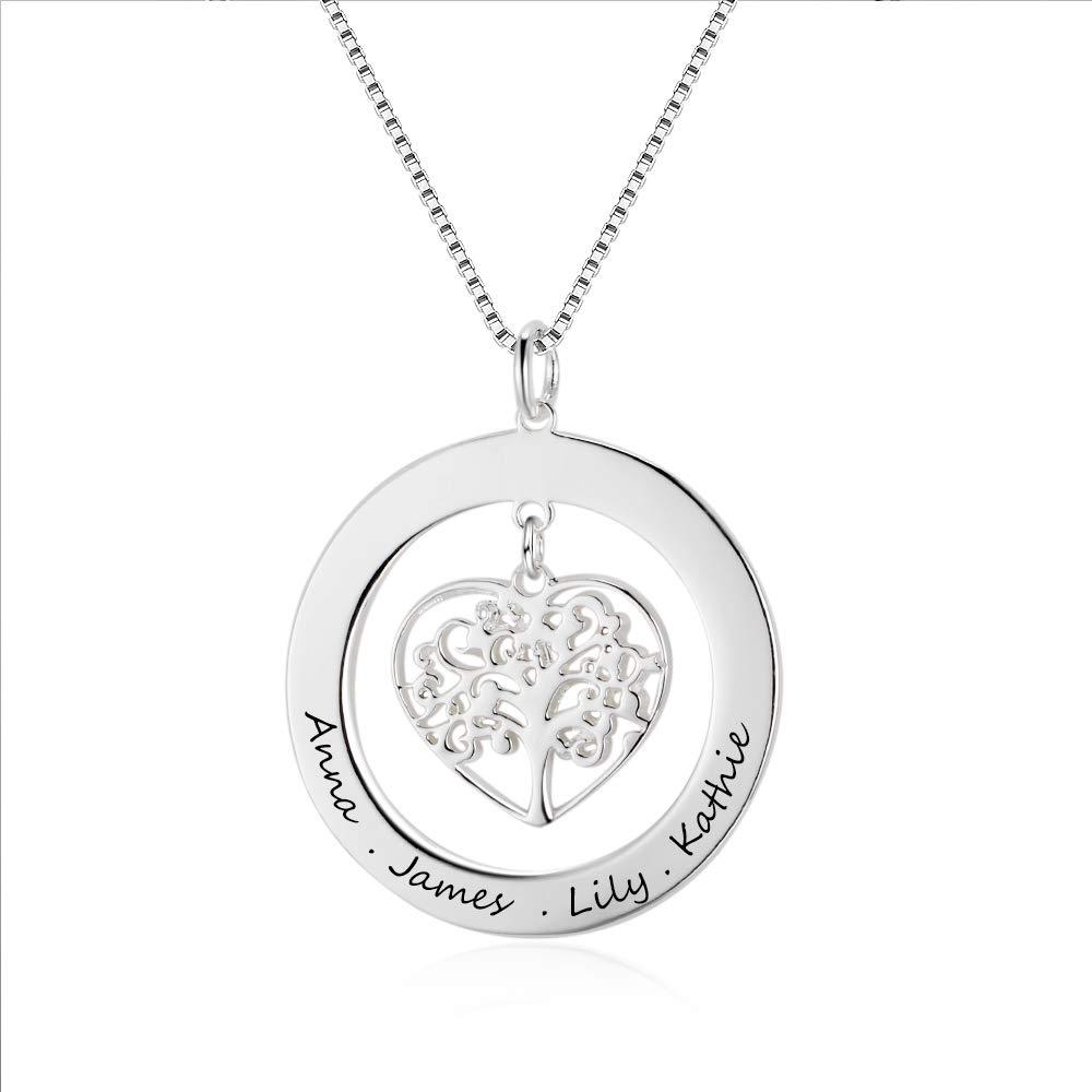 Grand Made Collar con Nombre Personalizado, Colgante con árbol de la Vida, con Grabado Grabado para Abuela o Mujer