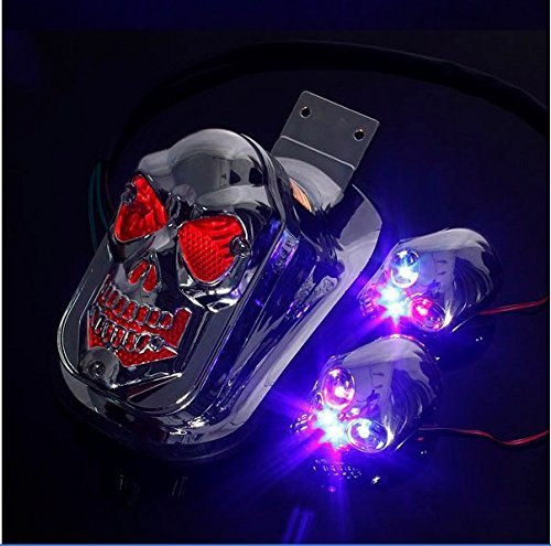 DASHUHUWAI Motorcycle skull Brake Tail Light Lamp Universal Fit For bikes/ Suzuki motorcycle /Curiser / Touring and custom applications, Fit most of the Bike, Motorcyle, ATV, Scooter, Curiser, Chopper, license plate holder features a dual high intens