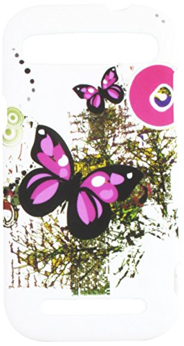 Eagle Cell ZTE Warp Sync/N9515 Rubber Cover - Retail Packaging - Two Pink Butterflies (Zte Warp Cases Mobile Boost Sync)
