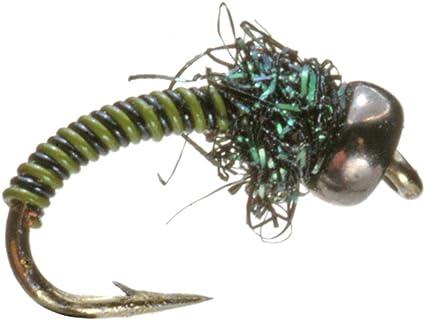 Umpqua Poison Tung Olive//Black Tungsten 2 Pack Nymph Fly Fishing Flies