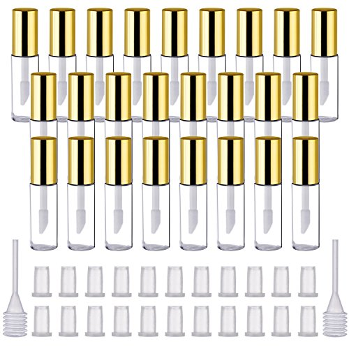 Pangda 25 Pack 1.2 mL Empty Lip Gloss Tubes Containers, Clear Mini Refillable Lip Balm Bottles with Rubber Inserts and Transfer Pipettes for Lip Samples Travel Split Charging DIY Makeup (Lightweight Lip Gloss)
