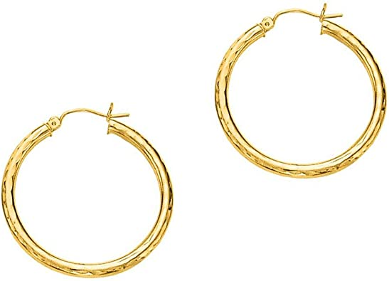 Available in Multiple Sizes 14k Solid White Gold Hoop Earrings with a Hinge-Notched Post