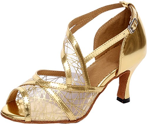 Abby Womens Ventilated Latin Sexy Peep Toe Mesh Professional Dance-shoes Gold 0XhpSrT