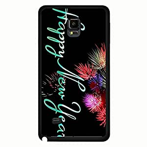 New Style 2016 Happy New Year Design Phone Case Hard Plastic Back Case Cover For Samsung Galaxy Note 4,Merry Christmas---Black