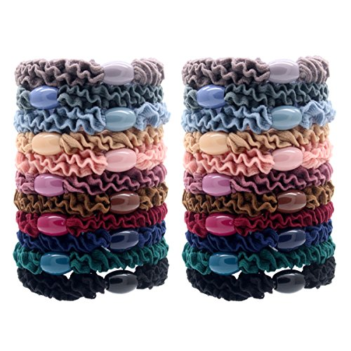 Fashion & Lifestyle 22 Pack Large Hair Ties Pony Ponytail Holders - Thick Solid Stretchy Elastic Hair Bands Boutique Woven Ropes for Girls Women and Ladies (22 Tail Holder)