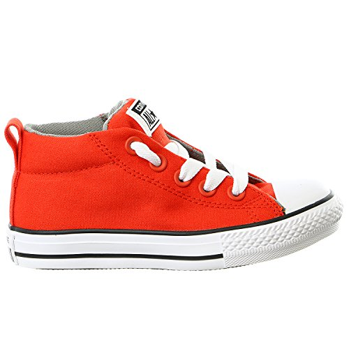 Converse Boy's Chuck Taylor Street Mid Pre/Grade School Signal Red/Cadet Grey/White 13.5 M (Cadet Footwear)