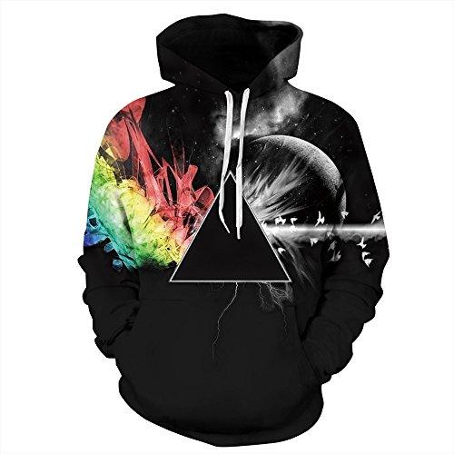 - NEWCOSPLAY Unisex Athletic Hooded Sweatshirts 3D Digital Printed Hoodies Colorful Galaxy Pattern Big Pocket Sweaters(S/M, Black Triangle)