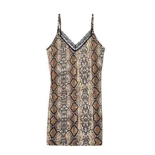 (Rakkiss Women Sexy Lingerie Lingerie Sleepwear Lace Dress Underwear Perspective Snake Jumpsuit Brown)