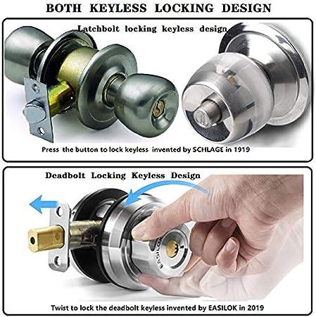 keyless Twist to Lock deadbolt lock easily,Single-Lock,New Lathe finish after 304 Stainless Steel Casting Front Door Lock shed lock,Single Cylinder Deadbolt and Door Knob with Keyless Locking Design