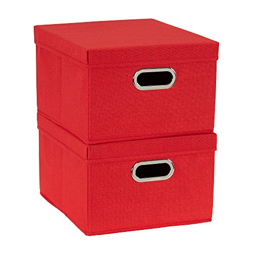 Household Essentials 706-1 Bin Lids and Handles | 2 Pack | Red Fabric Box Set, ()