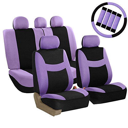 FH Group FB030PURPLE-COMBO Seat Cover Combo Set with Steering Wheel Cover and Seat Belt Pad (Airbag Compatible and Split Bench Purple) ()
