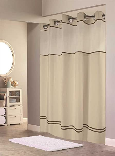 HOOKLESS ESCAPE SHOWER CURTAIN WITH SNAP IN LINER, SAND WITH BROWN STRIPE,  71