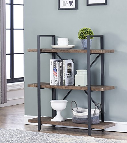 O&K Furniture 3-Shelf Industrial Bookcase and Book Shelves, Free Standing Storage Display Shelves, Brown by O&K Furniture (Image #1)