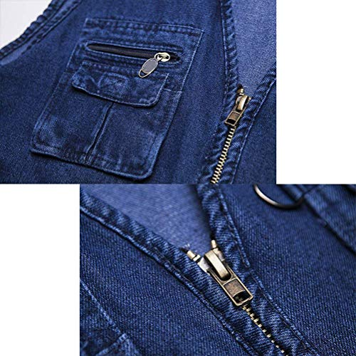 Regalo Da Chic Jeans Tasche Uomo Tessuto Gilet Blu Giacca Di Denim Cerniera In Multiple Tessuto Con XUR0v