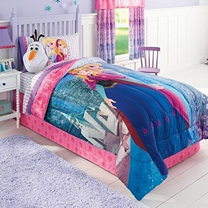 Disney Frozen Girls QUEEN SUPERSET: Comforter+100% flannel COTTON Sheets+ Pillow Cases + FROZEN STICKER BOOK and Exclusive Linens N Beyond LED Simple Touch Key Chain