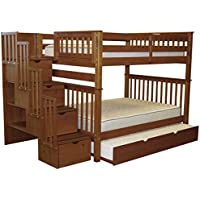 Bedz King Stairway Bunk Beds Full over Full with 4 Drawers in the Steps and a Full Trundle, Espresso