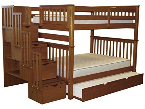 Bunk Full Bed - Bedz King Stairway Bunk Beds Full over Full with 4 Drawers in the Steps and a Twin Trundle, Espresso