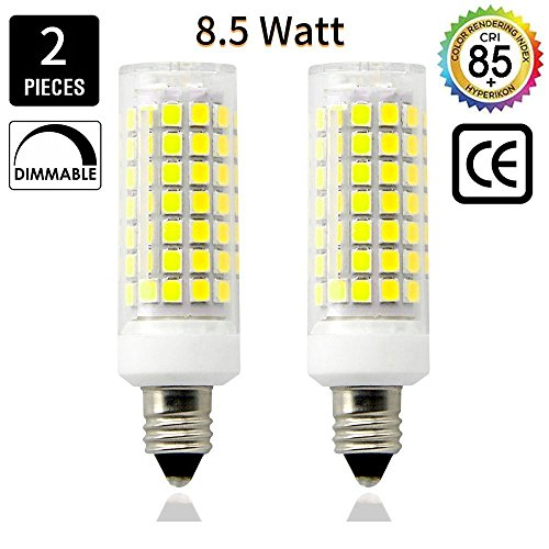 E11 LED Light Bulb 8.5W, 70W or 100W 110V/120v/130v Halogen Bulbs Equivalent Mini Candelabra jd E11 Base T3/T4 LED Bulb dimmable for Ceiling Fan, Indoor Lighting-2packs (130v Picture Light Bulb)