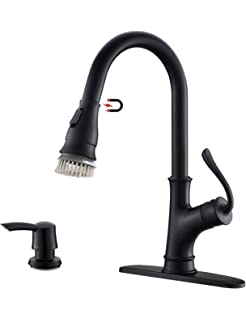 Hongaoer Black Kitchen Faucet,High Arc Single Handle Kitchen Faucet Pull Out Pull Down Sprayer/Kitchen Sink Faucet with Deck Plate