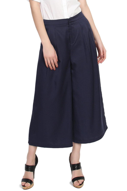 TheMogan Women's Tencel High Waisted Pleated Wide Leg Culotte Pants Crop Gaucho