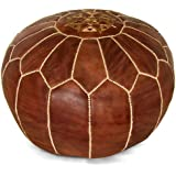 Ikram Design Moroccan Pouf, 20-Inch by 13-Inch, Brown