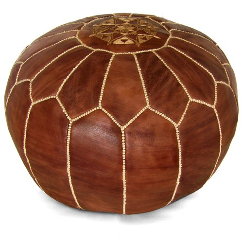 IKRAM DESIGN Moroccan Pouf, Brown, 20-Inch by 13-Inch by IKRAM DESIGN