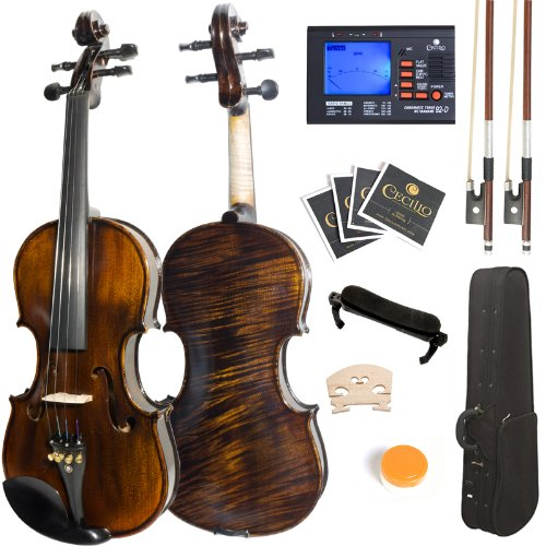 Mendini 3/4 MV500 Flamed 1-Piece Back Solid Wood Violin with Case, Tuner, Shoulder Rest, Bow, Rosin, Bridge and Strings Cecilio Musical Instruments 3/4MV500+SR+92D