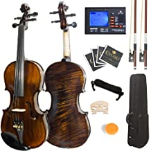 Mendini 4/4 MV500 Ebony Fitted Flamed One-Piece Solid Wood Violin with Hard Case, Shoulder Rest, 2-Bows, Rosin, Extra Bridge and Strings (Full Size)