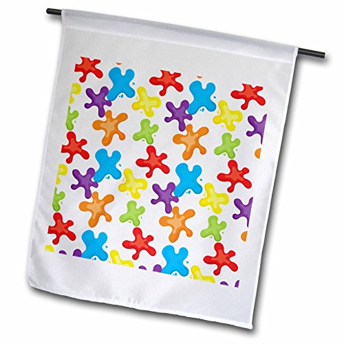 3dRose Anne Marie Baugh - Patterns - Cute and Colorful Primary Color Paint Splats Pattern - 18 x 27 inch Garden Flag (Splat Garden Art)
