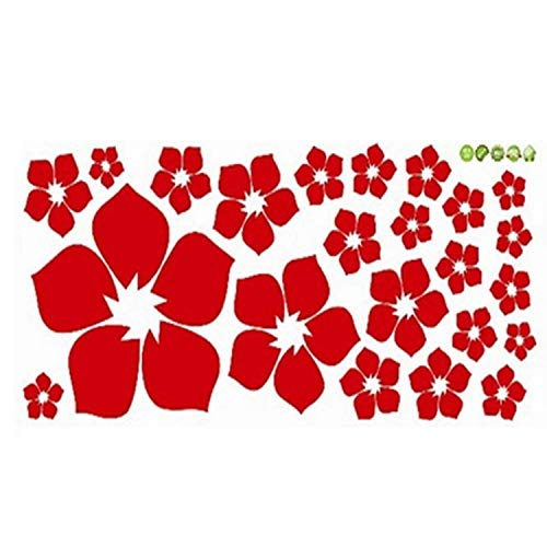Price comparison product image AMISTA One PC Removable Beautiful Flowers Wall Sticker Children Living Room Bedroom Decor Environmental Protection DIY Wall Stickers (Red)