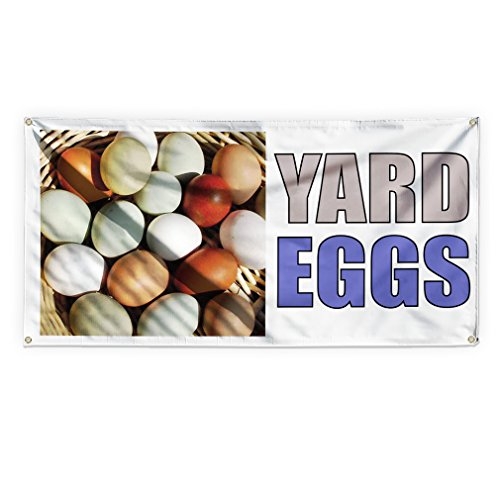 Yard Eggs Outdoor Advertising Printing Vinyl Banner Sign With Grommets - 3ftx6ft, 6 Grommets by Sign Destination